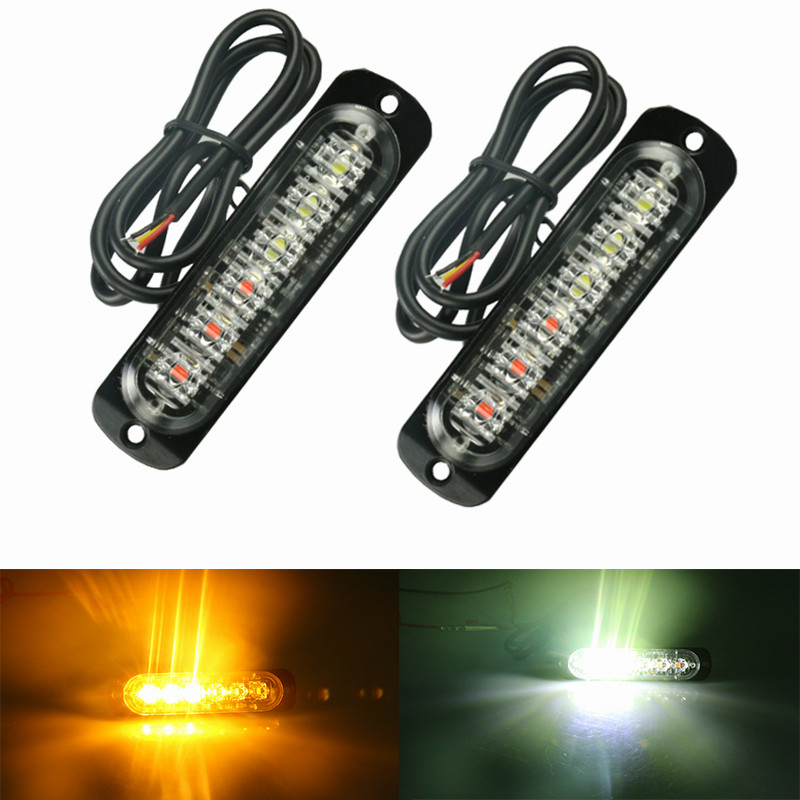 2pc 12V 24V 6 Led Strobe Warning Light Strobe Grille Flashing Lightbar Truck Car Beacon  ...