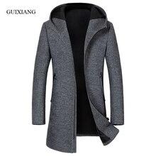 2017 new autumn and winter style men woolen coat fashion business casual hooded slim men's solid wool windbreaker jacket M-3XL