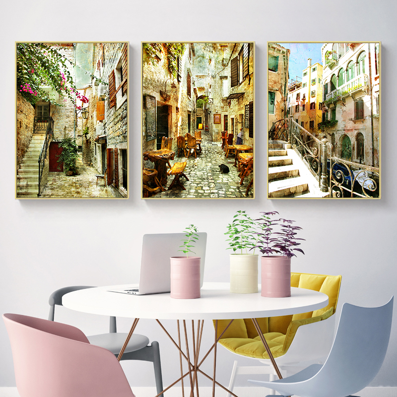 NEWBILITY European Retro Street Paintings Reataurant Classical Posters Living Room Decor Hallway Wall Art Cafe Painting Bedroom