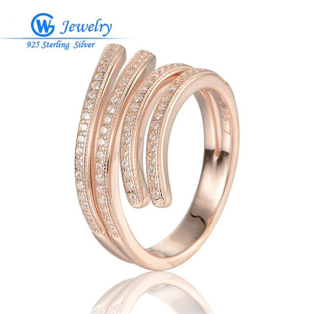GW Fine Jewelry Rose Gold Rings 925 Sterling Silver European Brand Women Girls White Zirconium Rings Wedding Jewelry RIPY037H20