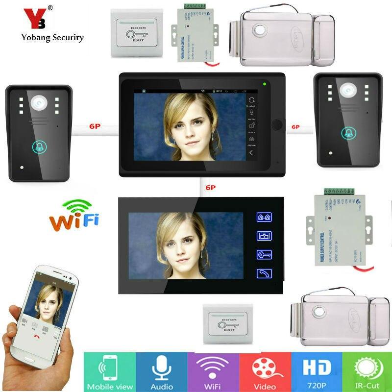 Yobang безопасности 7 дюймов 2 Мониторы проводной/Беспроводной Wi Fi ip видео дверь домофон запись Системы с проводной 2 Камера