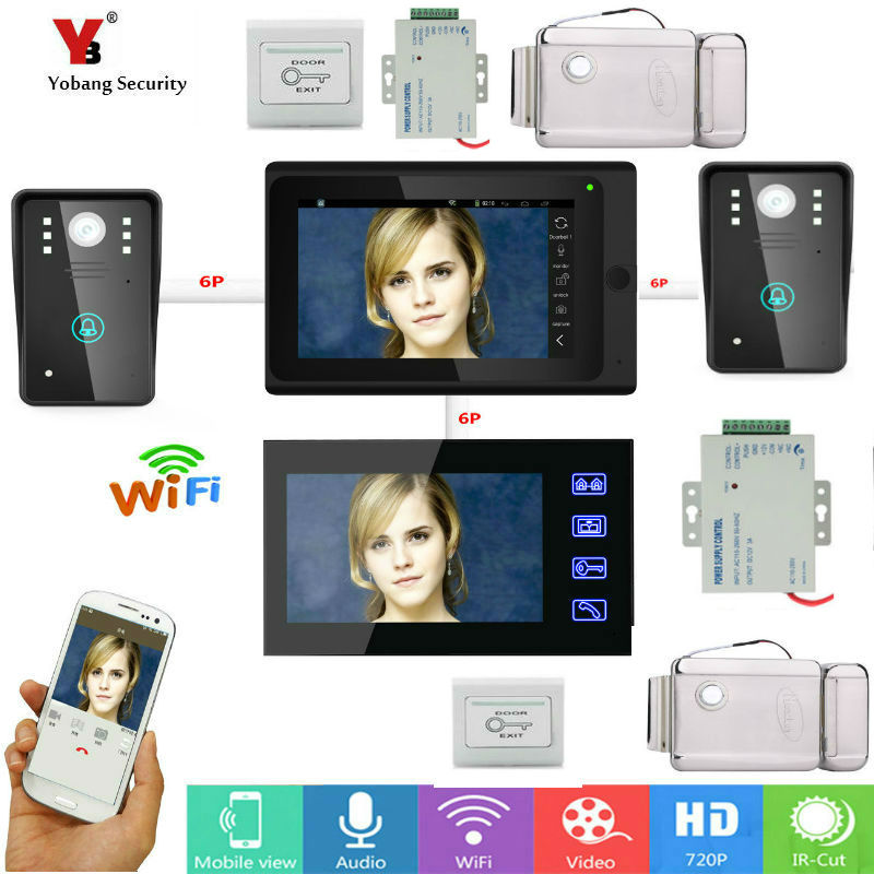 Yobang Security 7inch 2 monitors Wired / Wireless Wifi IP Video Door Phone Doorbell Intercom Entry System with Wired 2 Camera