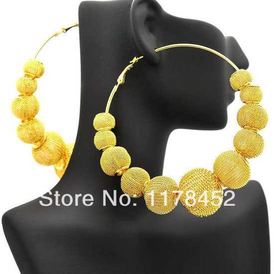 Gold Basketball Wives Mesh Disco Ball Beads Wives Hoop
