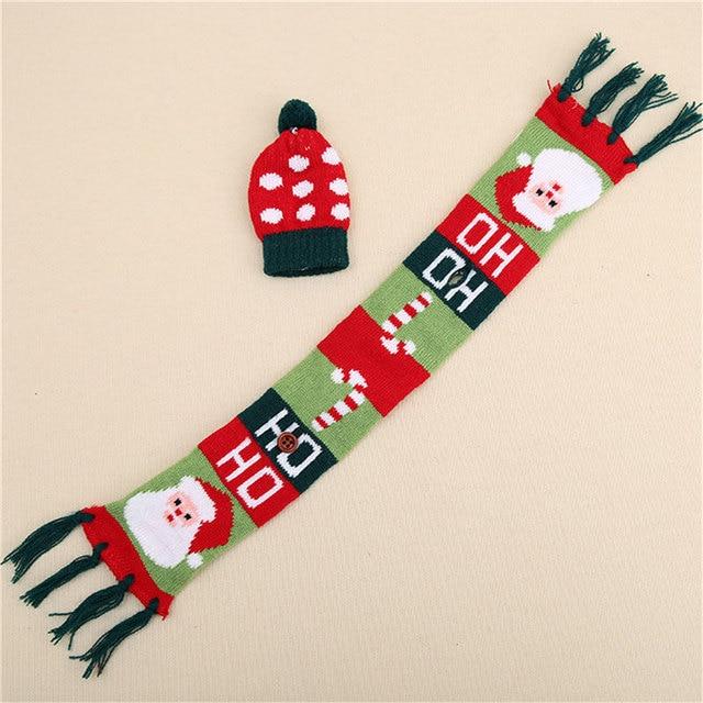 3 шт./компл. фестиваль рождественские шарф для украшения женские шапки, вязанные красный украшение для винной бутылки новинка шарф с кисточк...