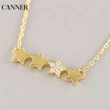 Canner Star Pendant Necklace Women Collier 925 Sterling Silver Gold Chain Crystal Choker Fashion Jewelry Gift 2019