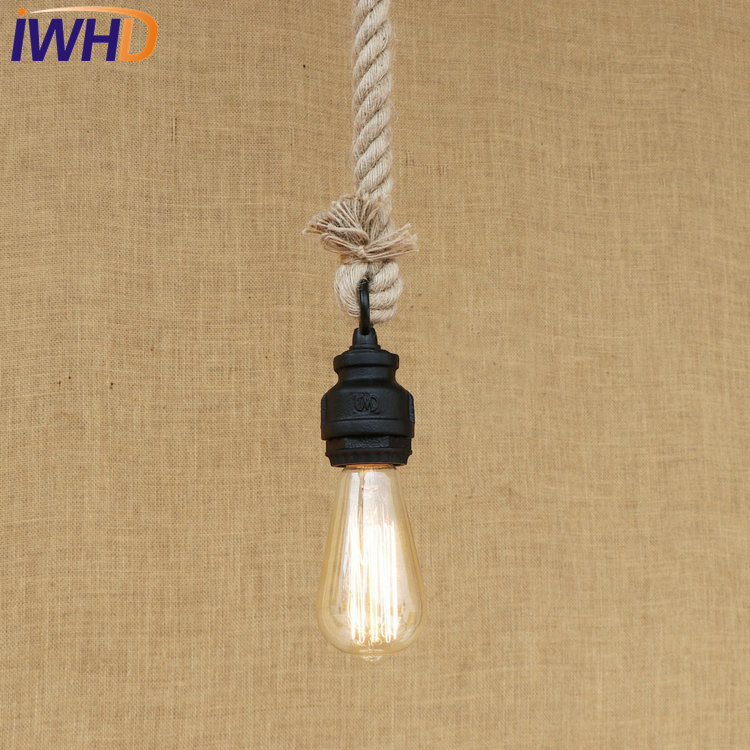 IWHD Loft Style Iron Water Pipe Pendant Light Fixtures Hemp Rope Edison Vintage Industrial Lighting Hanging Lamp Lamparas Pared loft style metal water pipe lamp retro edison pendant light fixtures vintage industrial lighting dining room hanging lamp