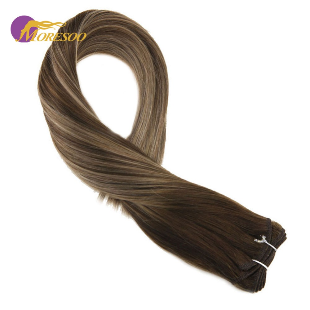 Moresoo Sew In Hair Weft Extensions Remy Human Hair Colorful #4 Fading To #27 And #4 Hair Weave Human Hair Bundles Straight 100G