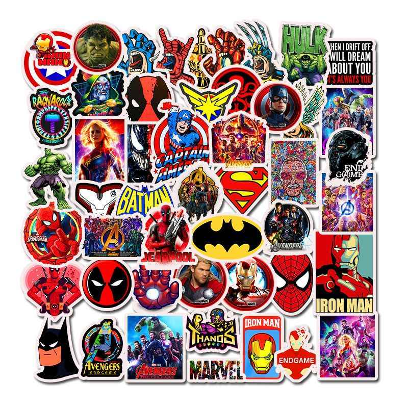 50pcs/set Avengers Endgame Stickers Marvel Toys Super Hero Hulk Iron Man Spiderman Captain American Car Sticker for Luggage Kids
