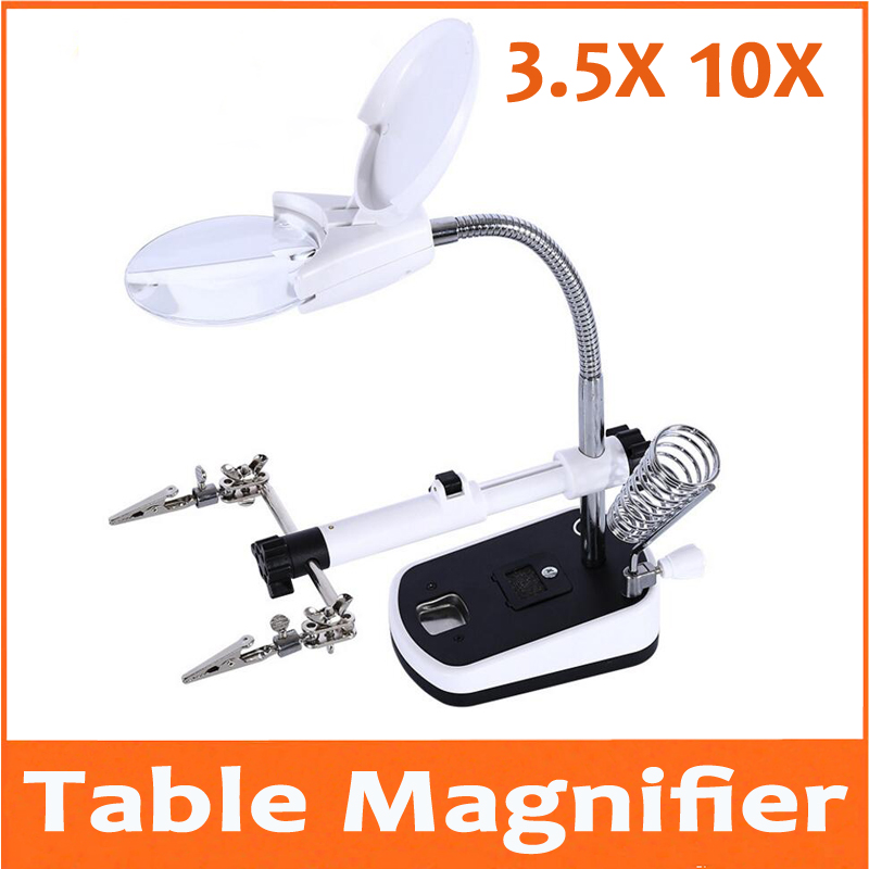 цена на 3.5X 10X Table Lamp Style LED Illuminated Desk-top Welding Magnifier Magnifying Glass Cell Phone Circuit Board Repair 110V-220V