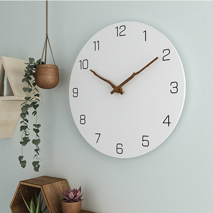 Wooden Wall Clock Simple Modern Design for Living Room Nordic Brief Wood Clocks White Wall Watch Home Decor Silent 12 Inch(China)