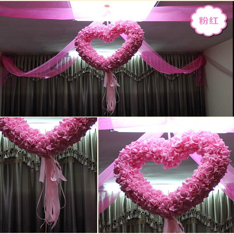 Wedding heart decorations decoration for home 40x40cm artificial silk rose wedding car decoration heart shaped junglespirit Choice Image