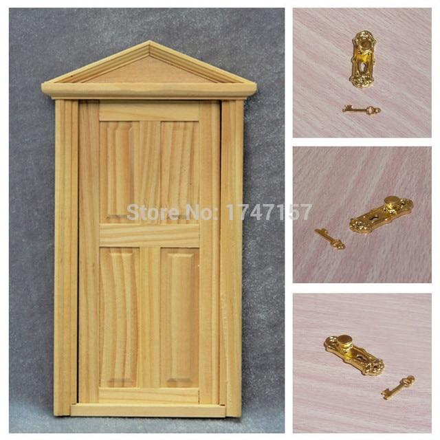 New 1:12 Dollhouse Furniture Miniature Wooden Exterior Door Models With Door  Lock And Key