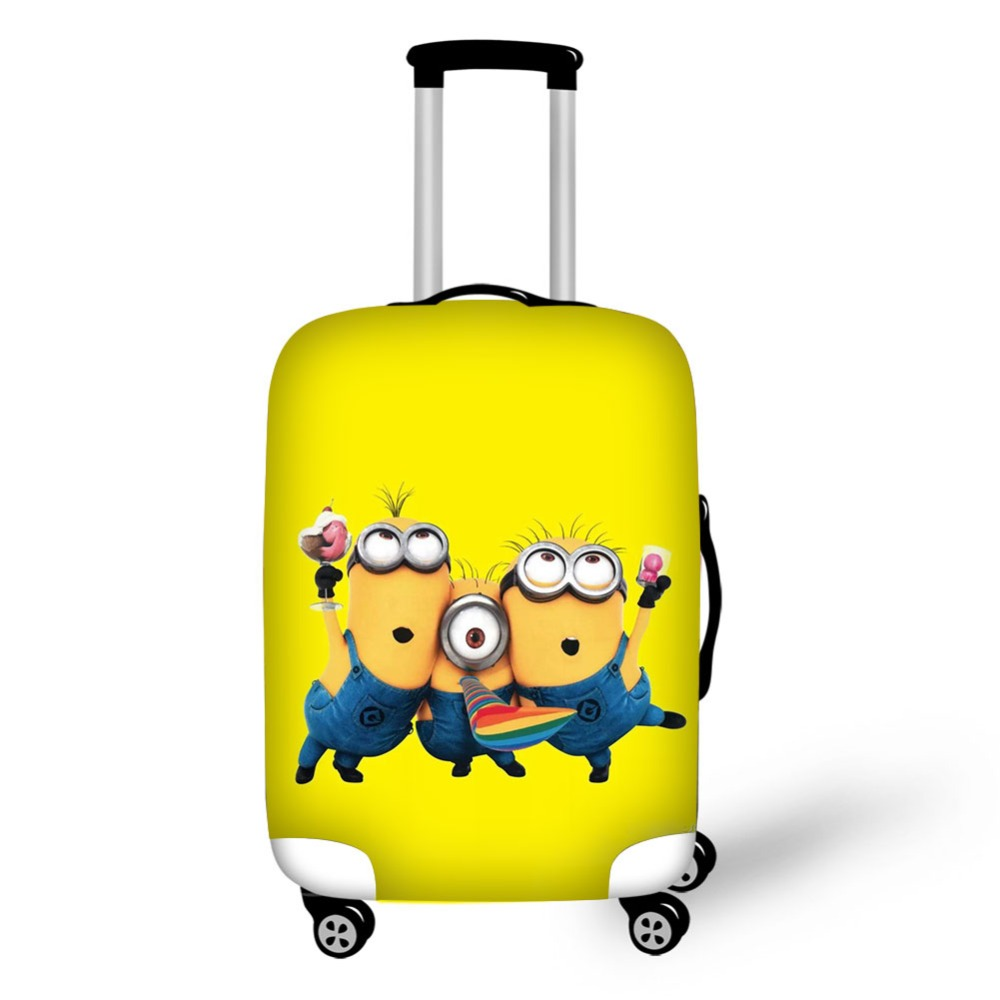 cute minions prints suitcase cover high elastic spandex luggage cover suit for 18-32inch suitcase trolly case cover