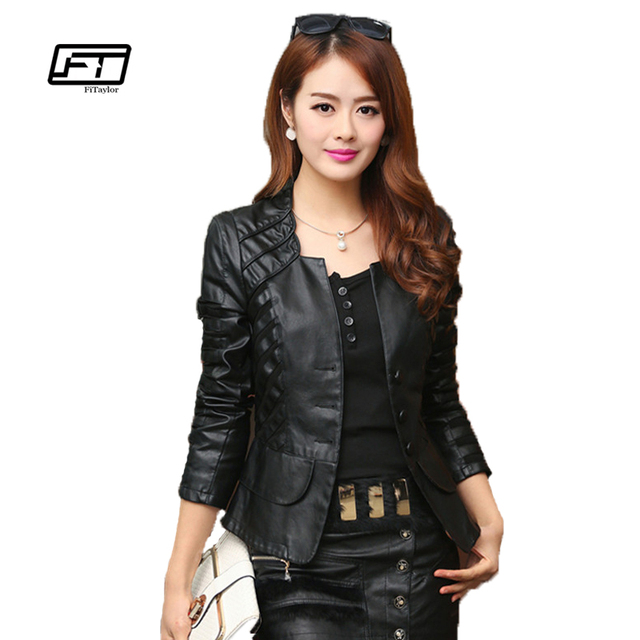 c4df94e87c8 Fitaylor New Autumn Women Motorcycle Faux Leather Soft PU Slim Jackets Red  Black Plus Size 4XL