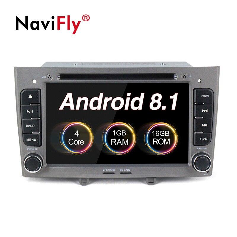 NaviFly 2 din lecteur dvd de voiture Android 8.1 autoradio lecteur multimédia pour PEUGEOT 308 2007-2013,408 2011-2014 avec navigation gps