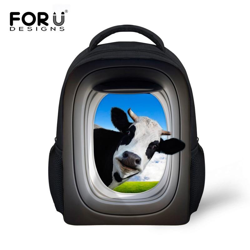 FORUDESIGNS Children Fashion Shoulder Backpack Mochilas Infantil 3D Cow Deer Animal Kids School Backpacks For Baby Boys Girls