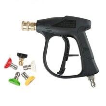 """Hogedrukreiniger 3/8 """"Snelkoppeling Auto Wasmachine Pistool Spuitpistool Met 5 Nozzles Voor Auto Wassen Auto Water gun Cleaning Tools"""
