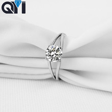 QYI 925 Sterling Silver Jewelry Double Row Ring 1 ct Round cut Women Engagement Jewelry Zircon Wedding Rings Gift Jewelry