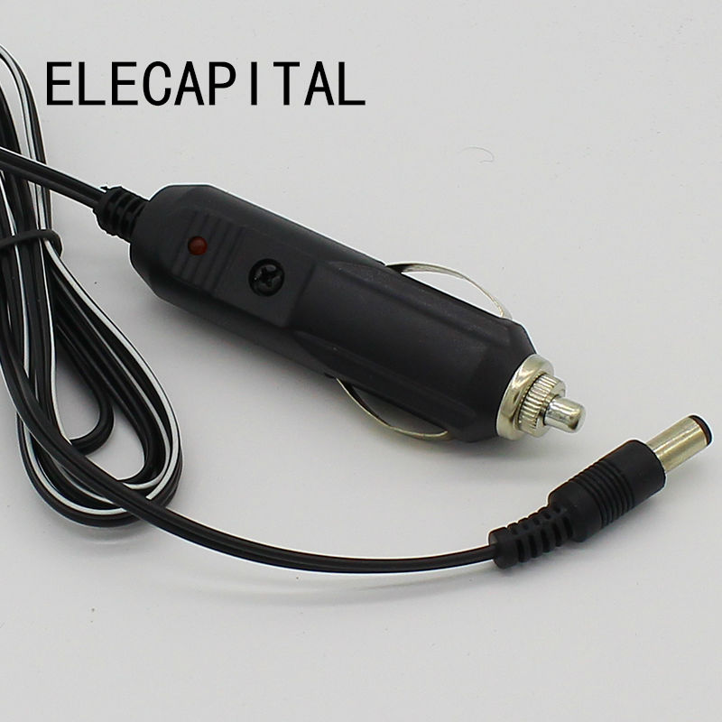 Car Cigarette Lighter 5.5*2.1mm Plug Cigar Power Connector Fused With Light LED With 1.5m Wire Cable End Caps