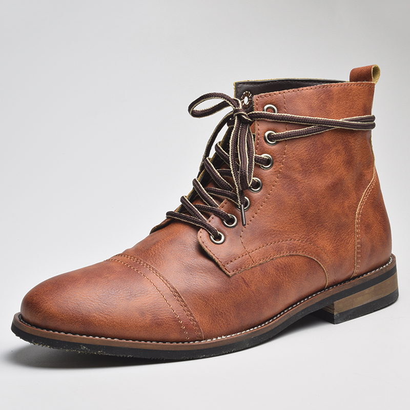 COSIDRAM Ankle-Boots Male Botas Winter Fashion High-Quality Autumn Lace-Up BRM-060 British