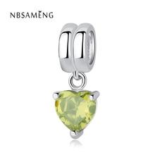 Аутентичные бусины из стерлингового серебра 925 очарование зеленые кристаллы в форме сердца подвесной кулон, соответственные Пандоре обаят...