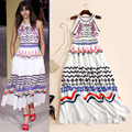 Cute Vintage fashion patterns print long dress sleeveless beading casual dresses new 2017 spring summer brand runway white