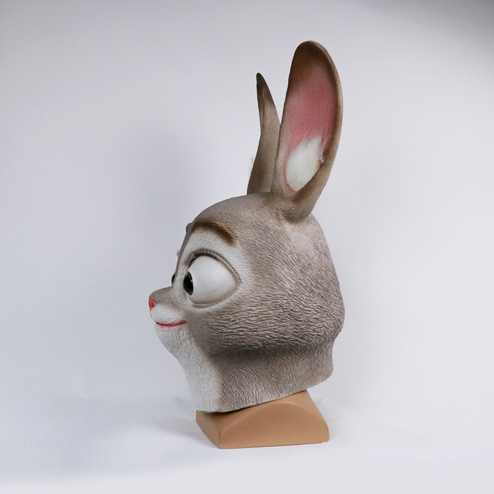 2016 Movie Cosplay Zootopia Judy Hopps Mask Latex Judy Hopps Helmet Judy Hopps Halloween Costume Prop Accessories3