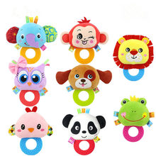 1PC Cute Animal Hand Bells Teether Rattle Doll Plush Baby Rattles Toys Infant Newbron Early Education Toys Monkey Panda Lion Dog(China)