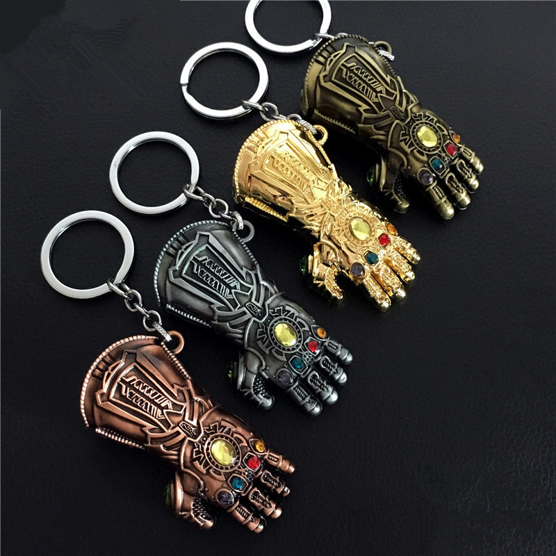 Superhero Hero Movie Thanos Avengers 3 Unlimited Tanos Unlimited Gloves Cosplay Costume Gloves Model Keychain