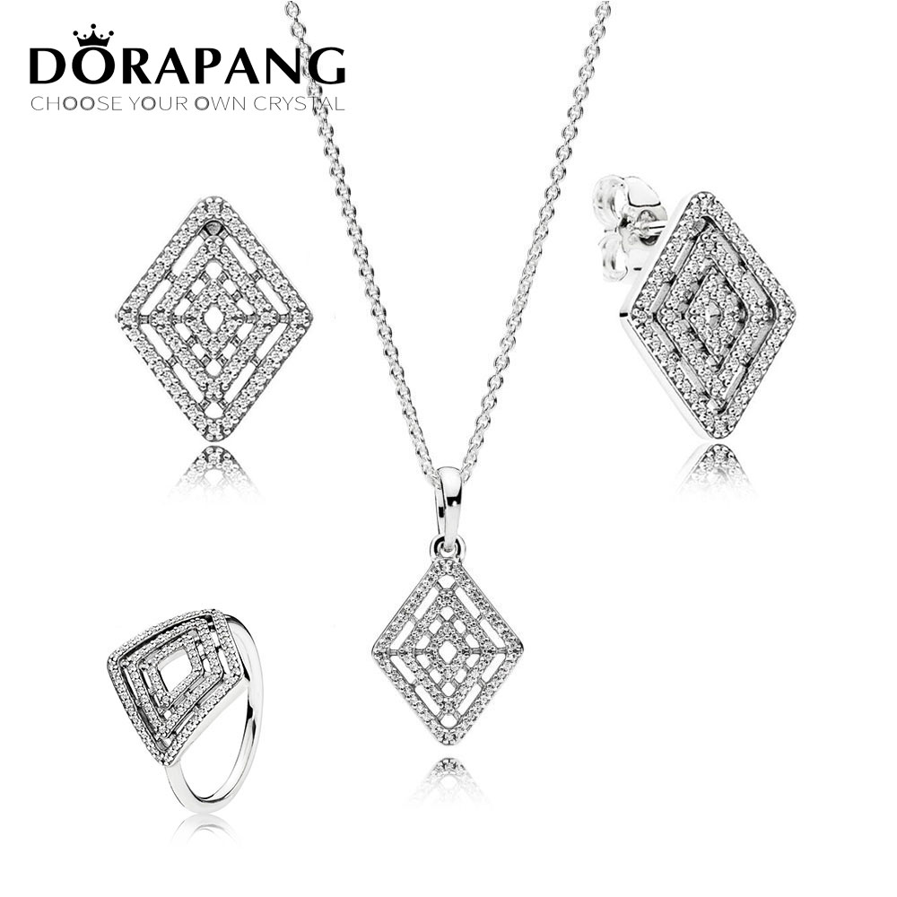 DORAPANG High Quality 100% 925 Sterling Silver Jewelry Suit Geometric Line Original Ring Charm For Women Jewelry DIY Gift