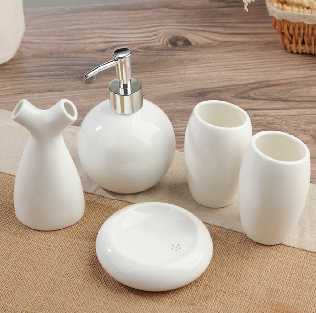European Style 5Pcs Ceramic Bathroom Toiletries Soap Dispenser Toothbrush Holder Soap Fish Cup Set Bathrooms Accessories LFB283 in Bathroom Accessories Sets from Home Garden