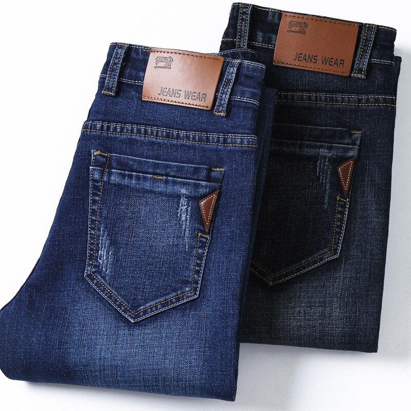High Quality Dark Blue Print Ripped Jeans Men Original Brand Jeans Masculino Denim Trousers Men`s Moto Biker Jeans