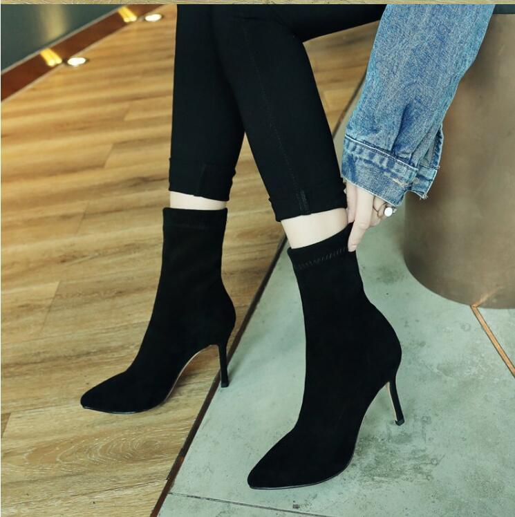 Moda Calze Alti Di Stivali Scarpe Pelle Black Autunno Scivolare qzaTP1w
