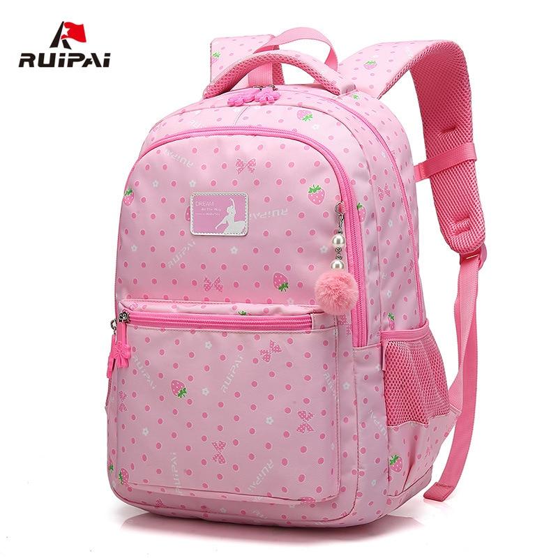 Детский рюкзак розовый сладкий печати девушки рюкзак школы новые дышащие школьные сумки ученик сумка водонепроницаемый рюкзак