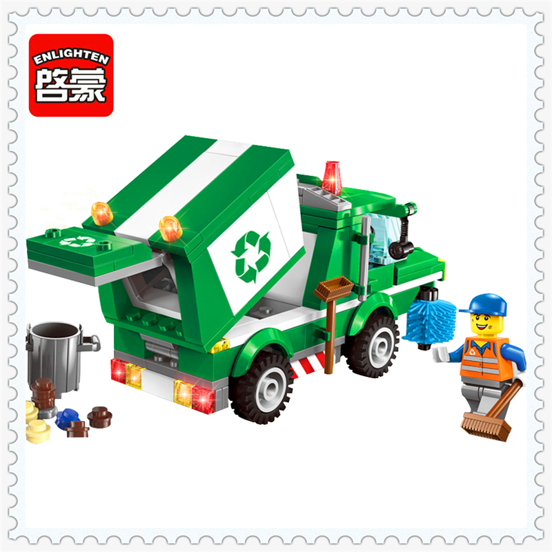 196Pcs City Urban Garbage Truck Bus Model Building Block Toys ENLIGHTEN 1111 Educational Gift For Children Compatible Legoe 196pcs building blocks urban engineering team excavator modeling design