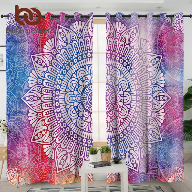 BeddingOutlet Mandala Flower Living Room Curtain Bohemian Girly Curtain for Bedroom Colorful Floral Blue Window Treatment Drapes