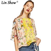 LINSHOW Beige Casual Butterfly Sleeve Short Sleeve Toyouth Summer Women T Shirt Printed O Neck Loose
