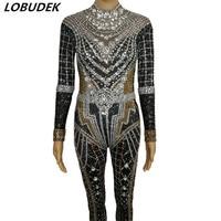 Full Rhinestones 3D Printed Skinny Jumpsuit Sparkly Crystals Long Sleeve Elastic Bodysuit Sexy Fashion Nightclub Stage Costume