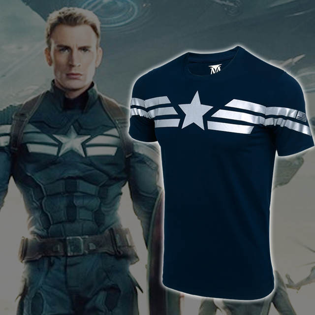 32e9dfb5d1 placeholder 2016 capitão américa camiseta Avengers Marvel masculino camiseta  de manga curta homens cosplay anime t -