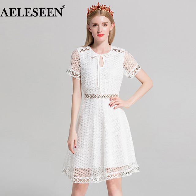 a21542fc2 Women Above Knee Dresses Fashion Short Sleeve Hot Sale 2018 A-Line Summer  Hollow Korean Classic Elegant White Dress