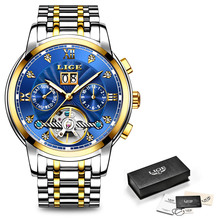 LIGE Men Watches Automatic Mechanical Watch Fashion Diamond Clock Male Stainless Steel Waterproof Watch Men Relogio Masculino
