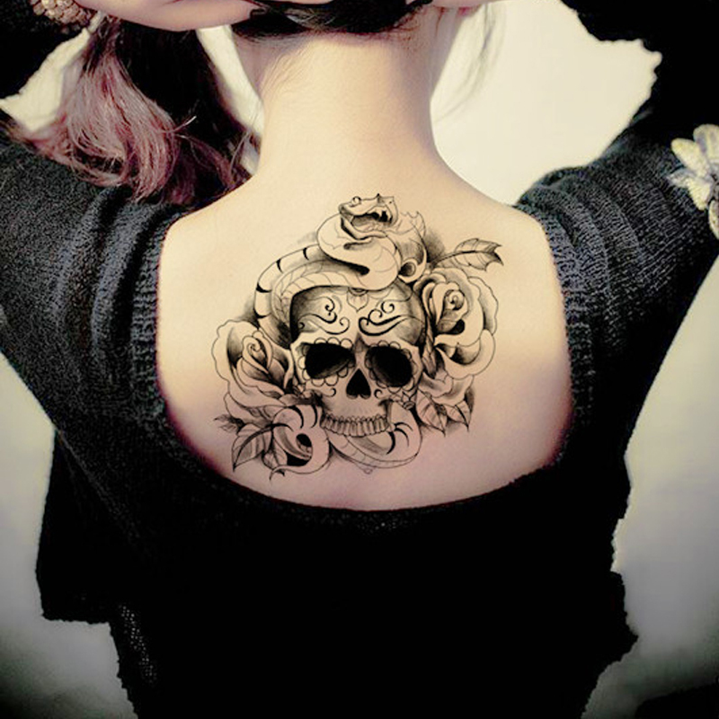 80697c8153dcf Temporary tattoo skull snake rose tattoo stickers animal pattern back fake  waterproof body art designs free shipping-in Temporary Tattoos from Beauty  ...