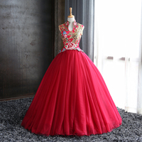 100%real wine red flower peacock beading court ball gown Medieval Renaissance Gown dress Victorian dress /princess Belle Ball