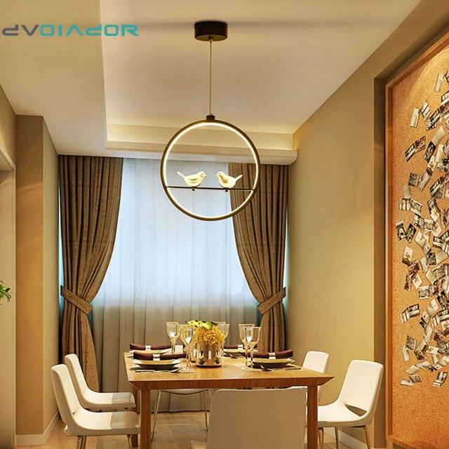DVOLADOR 3 Farben Verstellbare Vogel LED Pendelleuchte Nordic  Amerikanischen Landhausstil Kreative Schlafzimmer Wohnzimmer Licht AC220V