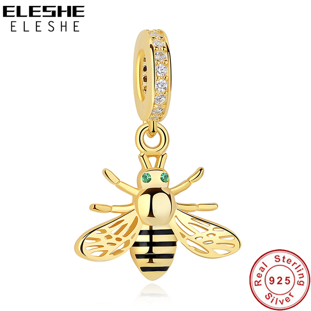 42ed2c811 Authentic 925 Sterling Silver Bead Black Enamel Animal Honey Bee Pendant  Charms Fit Pandora Bracelet With Gold Color DIY Jewelry