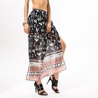 Summer Boho Women Long Skirt Vintage Phoenix Floral Print High Waist Midi Skirt Black Splits Beach Skirts Faldas Largas Jupe