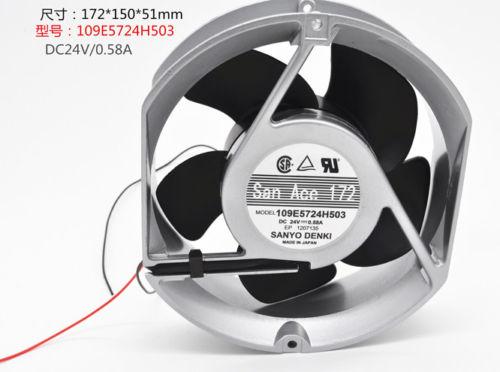 SANYO 109E5724H503 Aluminum frame Double ball fan DC24V 0.58A 172*150*51MM 2pin original sanyo 109e5724h505 dc24v 0 58a 17cm 172 172 51mm inverter aluminum frame cooling fan