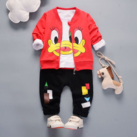 2017 New Fashion Casual Duck 3pcs Children Clothes Set For Girls Baby Toddler Cotton Long Sleeve