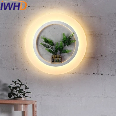 IWHD Ring Acylic Modern Wall Lamp LED Fashion Iron Wall Sconces Bedroom Stairway Lighting Fixtures Luminaire on the Wall