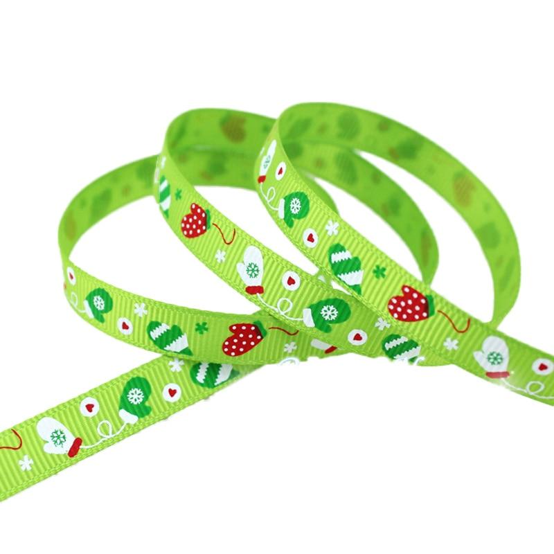 (5 ярдов/партия) мм 3/8 «(10 мм) зеленый Рождество Прихватки для мангала печатных grosgrain ленты атласная лента подарочные рождественские ленты